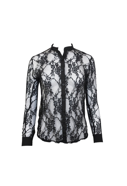 Black Sheer Lace Long Sleeve Top