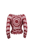 Maroon Long Sleeve Crochet Top