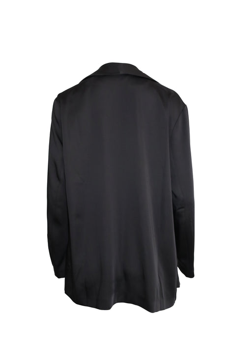 Black Silk Double Breasted Blazer