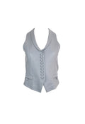 Light Grey Button Leather Vest