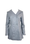 Grey Leather Hooded Coat