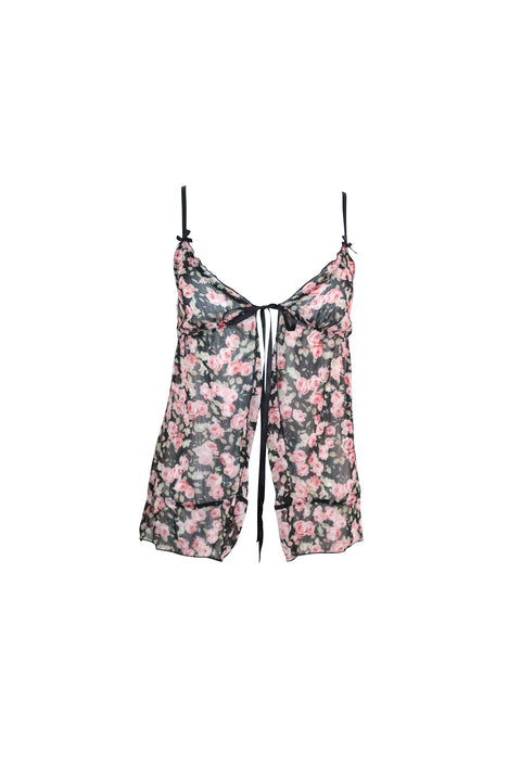 Black Floral Tie-Up Sleeveless Top