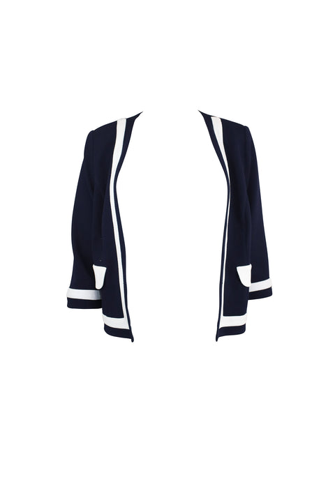 Blue and White Trim Cardigan