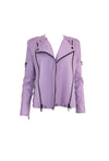 Lavender Leather Biker Jacket