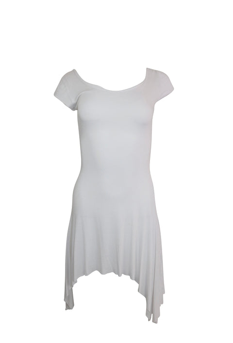White Short Sleeve High Low Dress