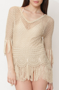 Crochet 3/4 Sleeve Fringe Tunic