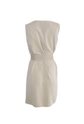 Sandy Beige Sleeveless Belted Dress