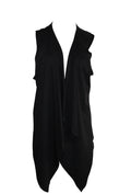 Solid Black Sleeveless Cardigan