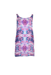 Purple Silk Sleeveless Patterned Dress