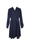 Navy Blue Long Sleeve Ruffle Dress