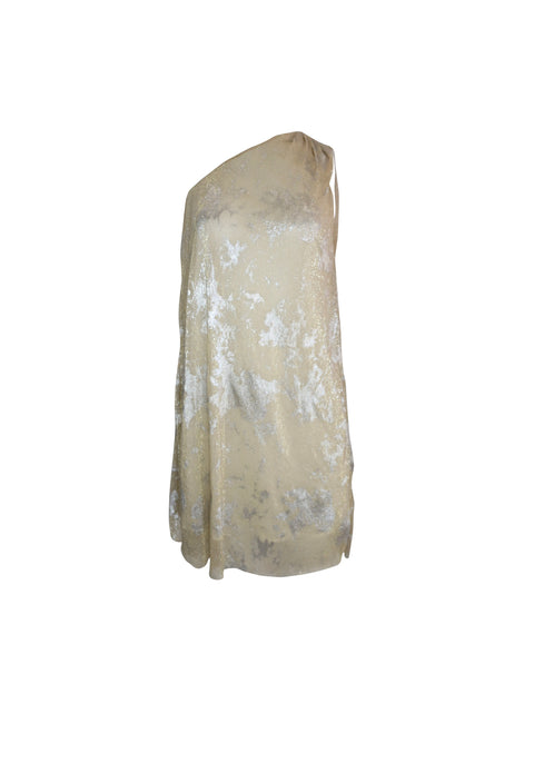 Silvery Gold One Shoulder Dress