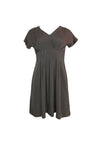 Green Brown Short Sleeve A-Line Dress