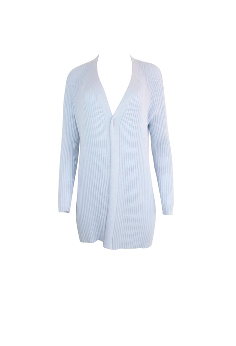 Ribbed Light Blue Long Sleeve Cardigan