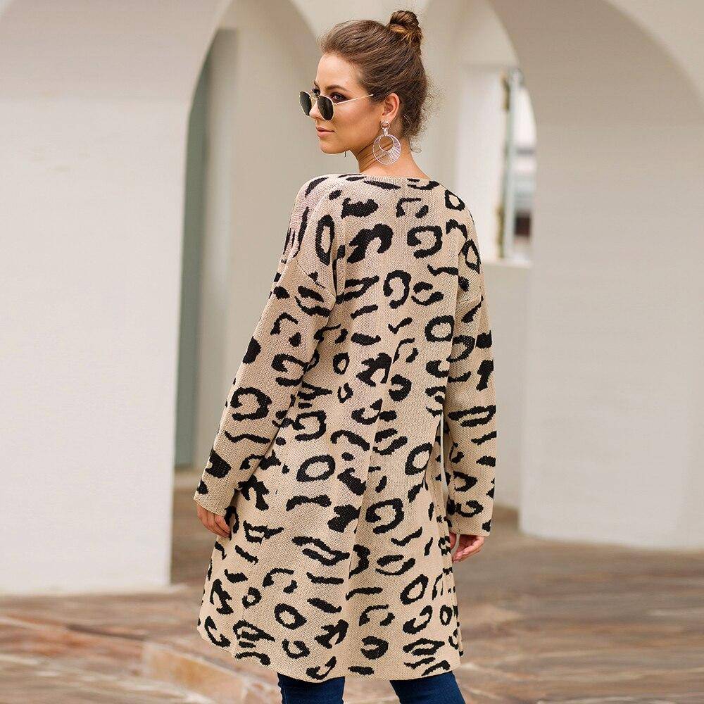 Leopard Print Open Front Cardigan