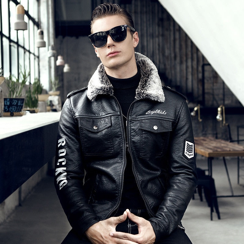 Men's Jacket Casual Plus Velvet Long-sleeved Leather Jacket Solid Color Zipper Slim
