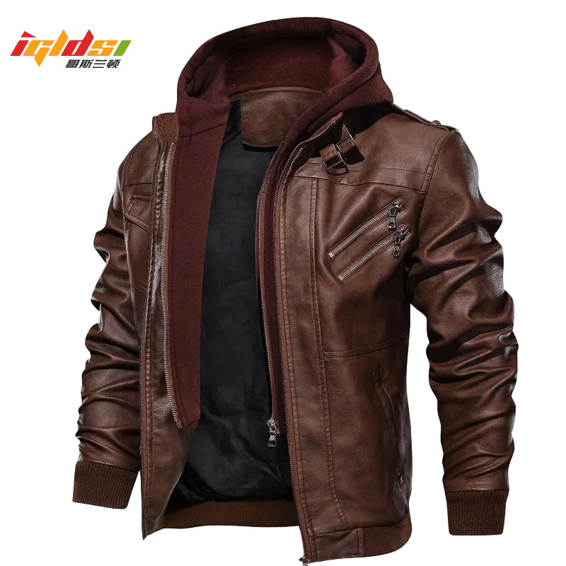 Leather Jacket Windbreaker Hooded PU Jackets Male Outwear
