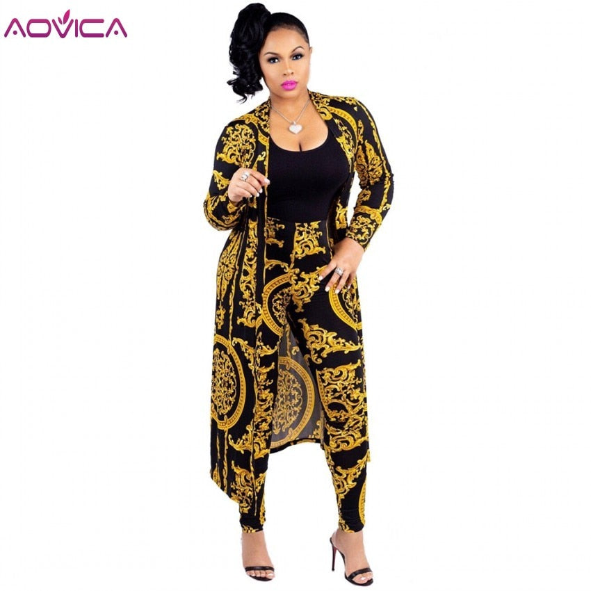 Plus Size 2 Pcs Set Fashion Tops Floral Print Long Sleeve Cardigan Bodycon Stripe Pants