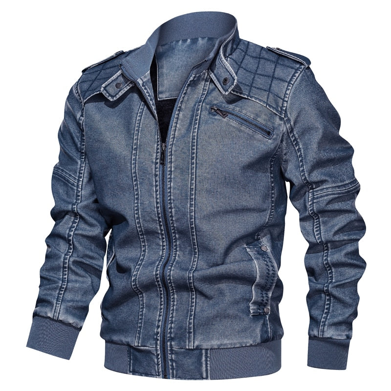 Leather jacket Wintemotorcycle Leisure bomber men jackets outerwear faux Military leather coat