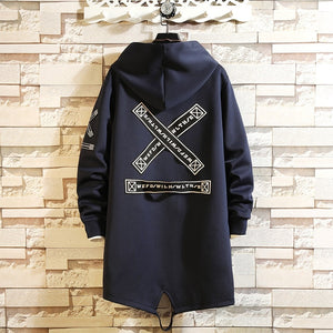 Trench Coat Men Print Windbreaker Overcoat Outwear Hip Hop Streetwear