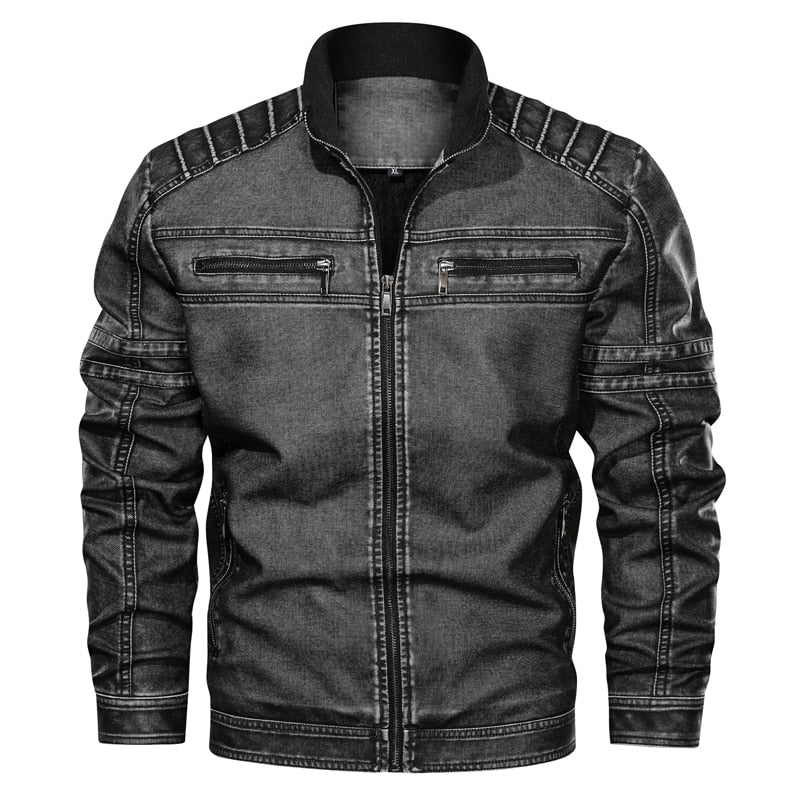 Winter pilot leather bomber jacket men military autumn Leisure flight faux jacket