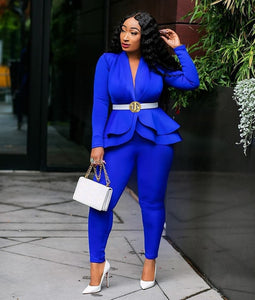 Two Piece Set Long Sleeve Tracksuit Solid Ensemble Outfit