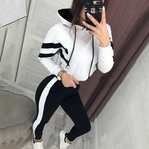 Classic striped women's hooded open-air sweater set two-piece