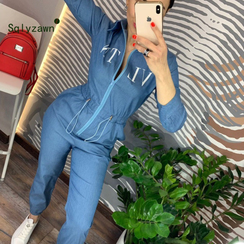 Blue Jumpsuit Long Pants With Zipper Rompers