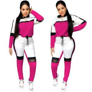 Long-sleeved sweater top joggers pants suit two pieces set tracksuit outfit