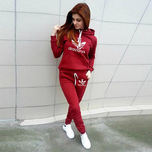 Winter Hoodie Pants Printed Tracksuit Pullover Sweatshirt With Pockets Tracksuit