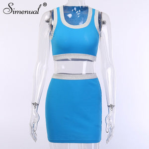 Two Piece Set Sleeveless Leisurewear Outfits Bodycon Slim Top And Skirt Sets