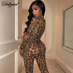 Leopard print sexy winter mesh long jumpsuit festival body outfits party clothing