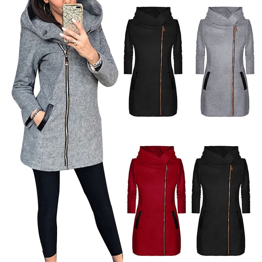 Casual Autumn Winter Solid Color Long Sleeve Jacket