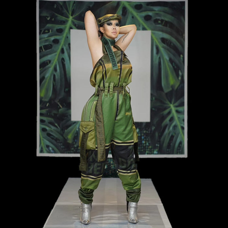 Military Style Loose Jumpsuit Casual Backless Army Rompers
