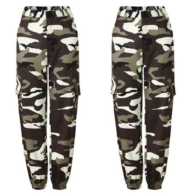 Hot Sale Camo Cargo High Waist Hip Hop Trousers