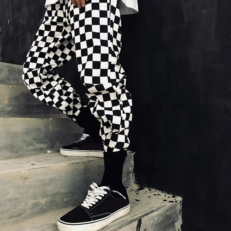 Straight Trousers Checkerboard Palazzo High Waist Street Style Hip Hop Pants