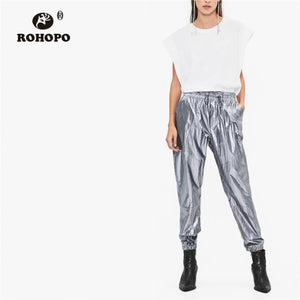 High Waist Streetwear Hip Hop Metalic Full Length Trousers