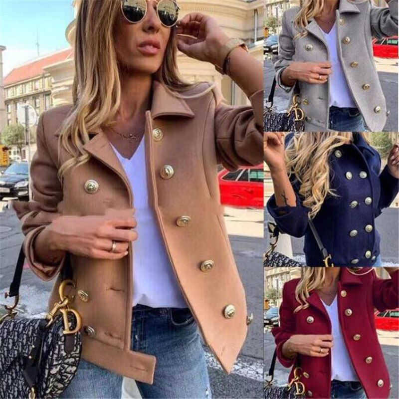 Newest 2020 Solid Button Coat Autumn Winter Full Sleeve Tops Jackets Casual Stylish Wear