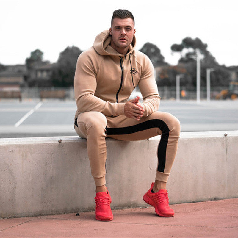 Sportswear Tracksuits Men Sets Running Gym Tracksuit Fitness Body building Hoodies + Pants