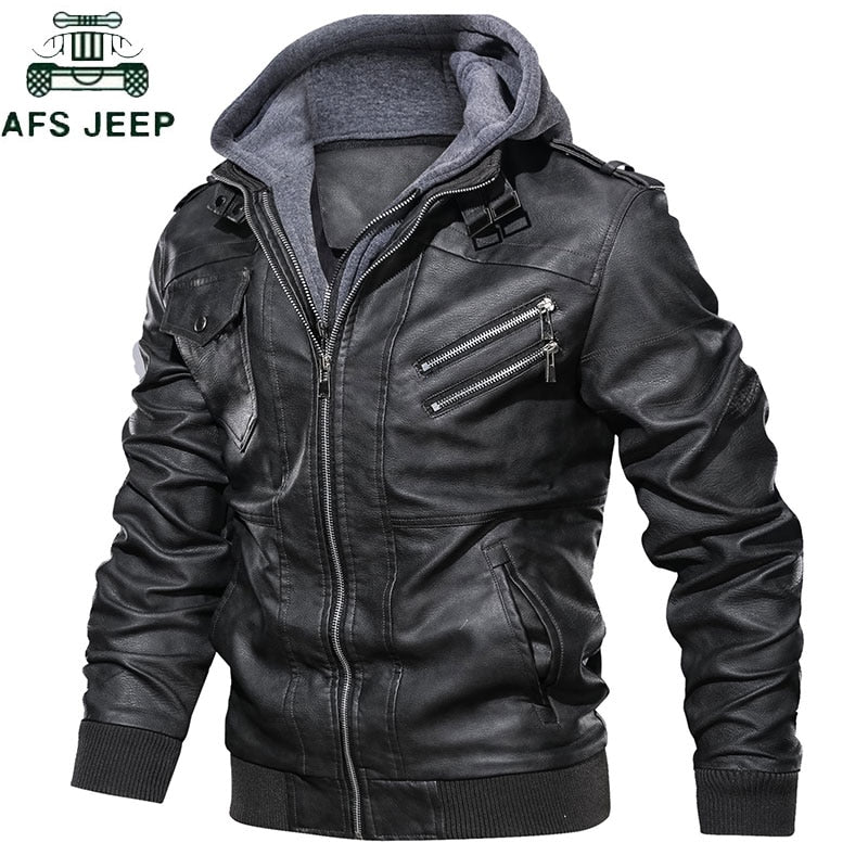 Leather Jacket Military Men Pu Leather Jackets Coat European