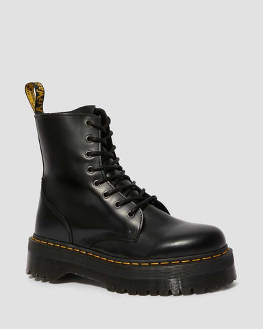 DR MARTENS JADON SMOOTH LEATHER PLATFORM BOOTS - BLACK