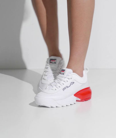 FILA WOMEN'S DISRUPTOR 2A - WHITE/FILANAV/FILARED