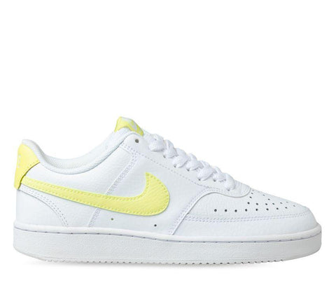 NIKE WOMENS COURT VISION LOW - WHITE/ LT ZITRON-BRIGHT MANGO