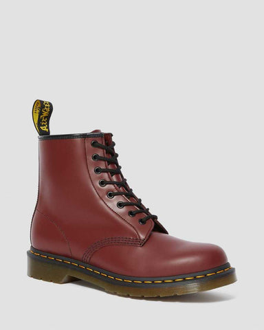 DR MARTENS 1460 SMOOTH LEATHER ANKLE BOOTS - CHERRY RED
