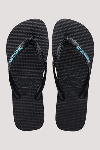 HAVAIANAS LOGO FILETE JANDAL - BLACK/LIGHT BLUE