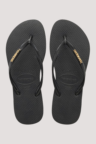 HAVAIANAS SLIM LOGO METALLIC JANDAL - BLACK/GOLD