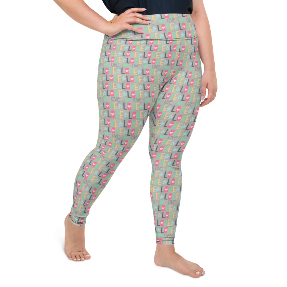 Plus Size Leggings & Yoga Pants - Crazy Hearts | TopGurl High Waist Workout Printed Activewear Athleisure - TOPGURL