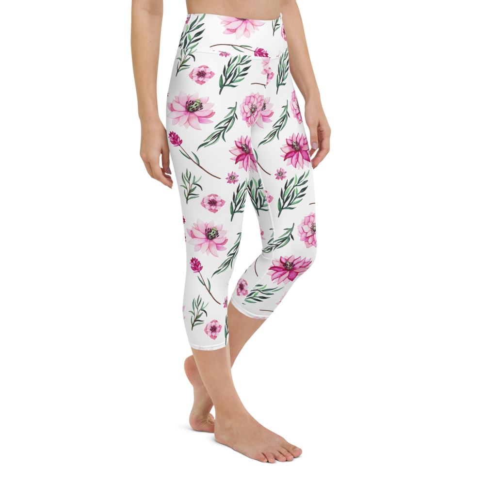 Capri Yoga Pants & High Waist Leggings - Floral Lillies | TopGurl Workout Printed Activewear Athleisure - TOPGURL