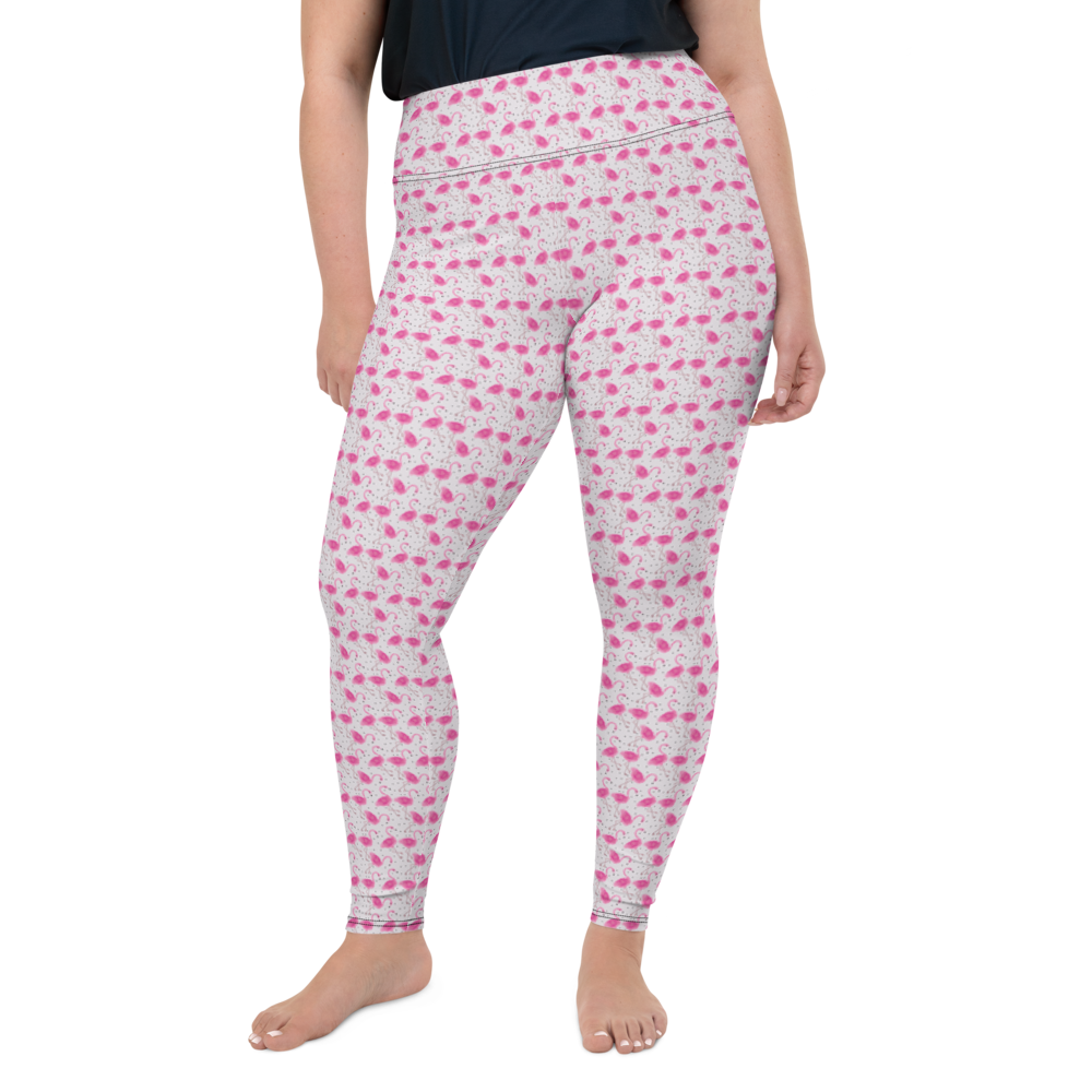 Plus Size Leggings & Yoga Pants - Flamingo Field | TopGurl High Waist Workout Printed Activewear Athleisure - TOPGURL
