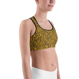 Sports Bra - Tiger Stripes Yellow | Activewear | TopGurl Printed Athleisure - TOPGURL
