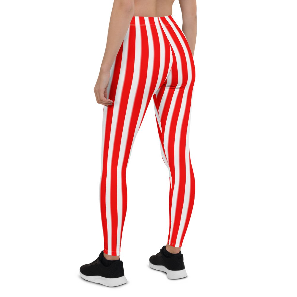 Womens Leggings & Activewear - Red & White Vertical Stripes | TopGurl Printed Athleisure - TOPGURL